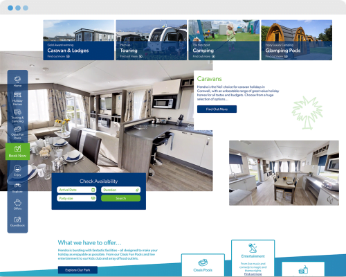 Industry leading website design for holiday parks