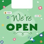We're open free graphic - green