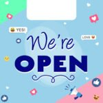 We're open free graphic - pastel